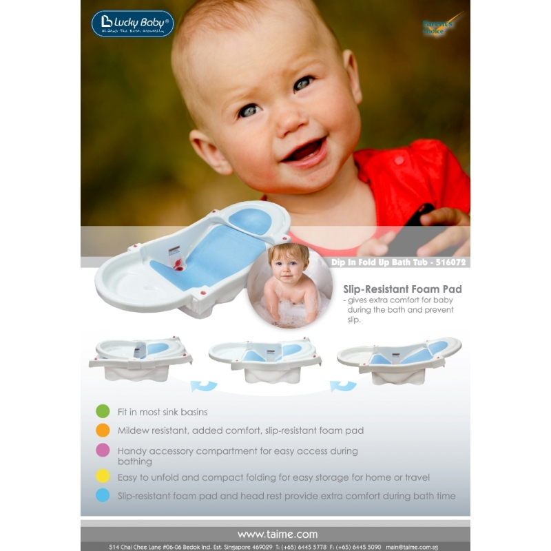 Bathtime - Lucky Baby Dip In Fold Up Bath Tub - Baby Meadows Singapore