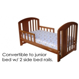 Converts to Junior bed with 2 side bed rails.